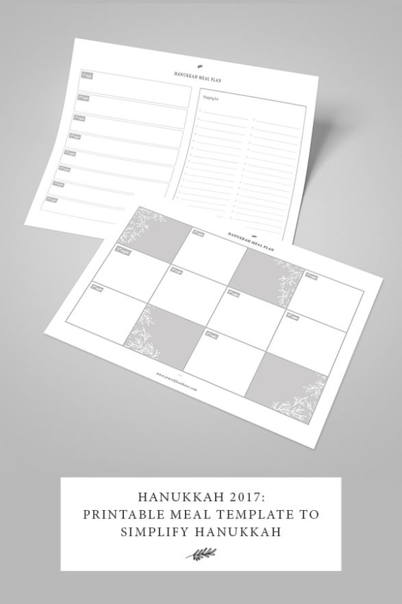 Hanukkah Printable Meal Template