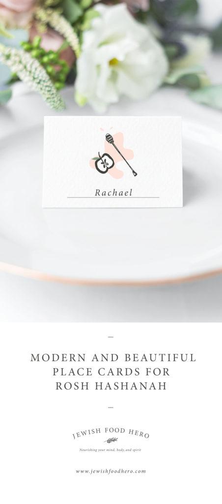 Female name Rachel, apple and honey illustration on white plate