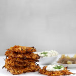 Crispy potato pancakes with white tofu sour cream