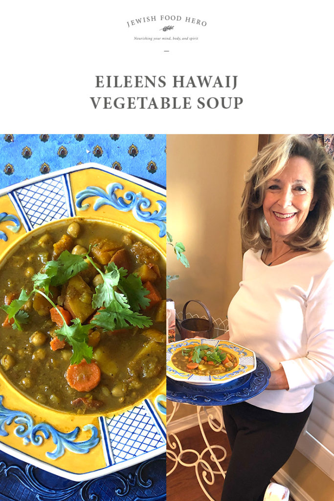 vegetable soup in blue and yellow bowl and Eileen holding soup