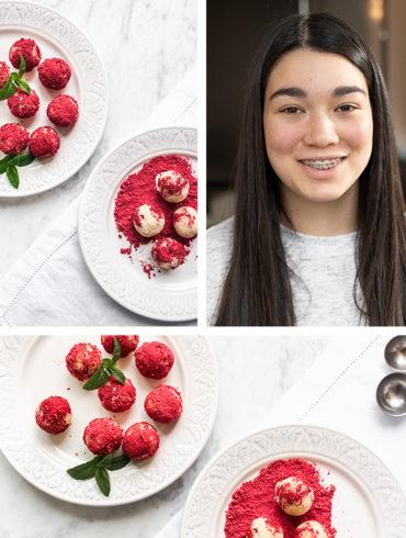 Raw dessert balls and teenage girl baker