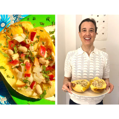 Vegan food, woman holding her vegan recipe