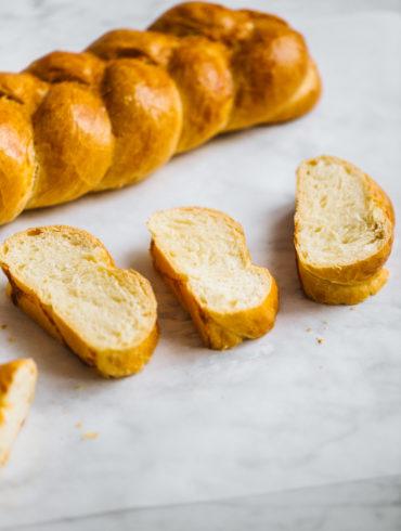 vegan challah bread slices