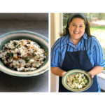 White salad and woman holding her salad recipe