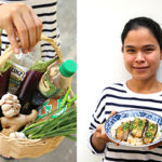 Basket of ingredients and Rithy wearing a striped t-shirt and holding a blue patterned bowl full of brown rice and aubergine topped with herbs