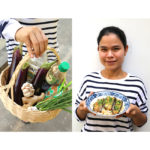 Woman holding eggplant dish and basket of ingredients.