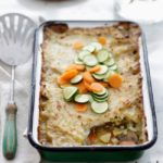Potato casserole with steamed carrots on top