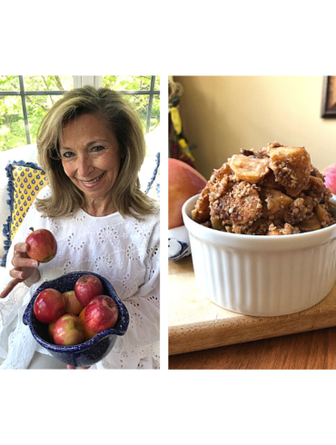 Eileen's Spiced Vegan Apple Compote Crumble in a ridged white ramikin, and Eileen holding a blue bowl of red apples