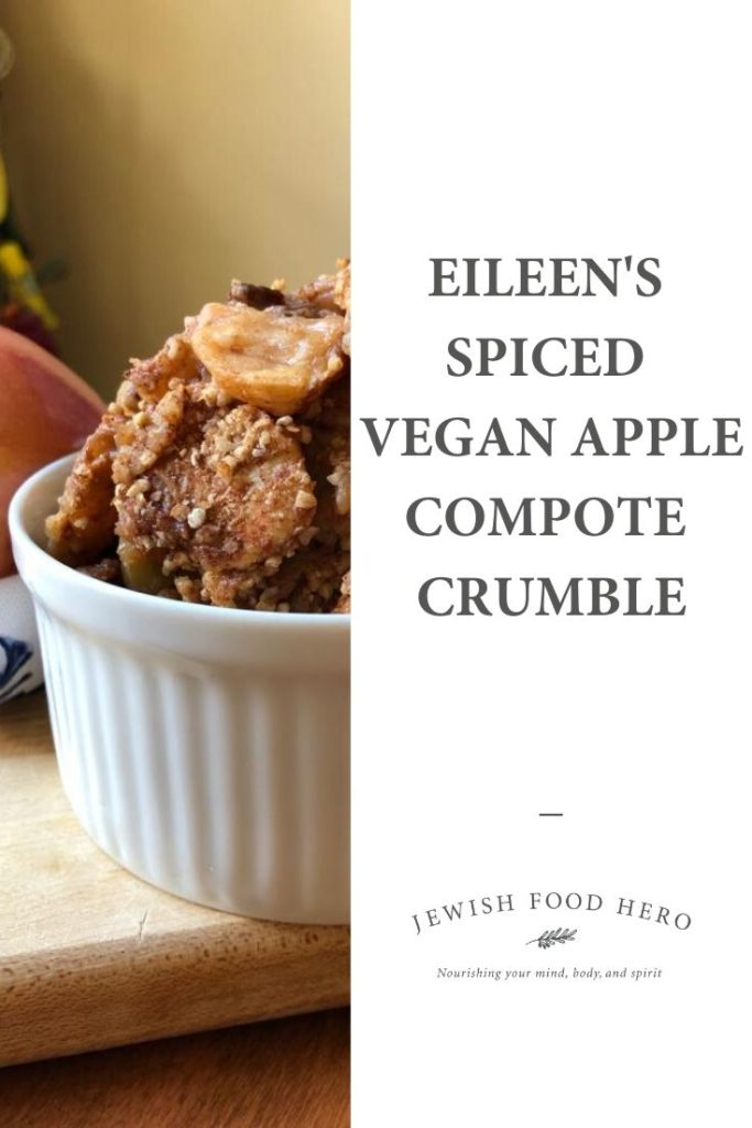 Eileen's Spiced Vegan Apple Compote Crumble in a ridged white ramikin