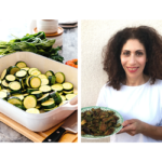 A white baking dish of zucchini rounds and Irit Levy holding a plate of fried marinaded zucchini