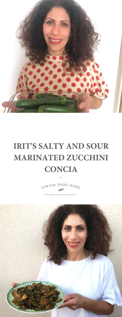 Irit Levy holding a glass dish of whole zucchinis and a plate of fried marinaded zucchini