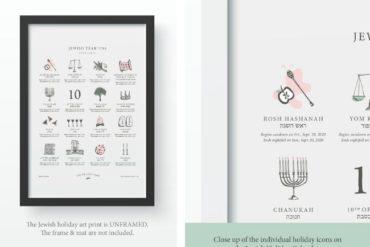 Framed Jewish Holiday Calendar Art Print on white background