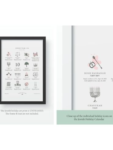 Framed Jewish Holiday Calendar Art Print on white background