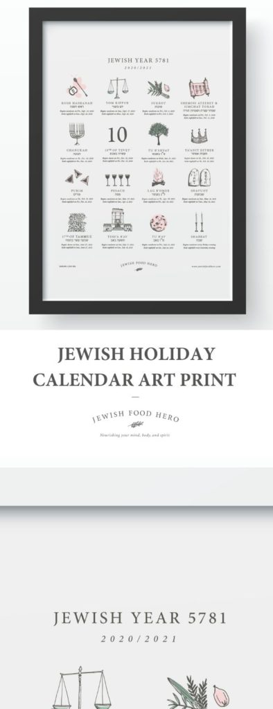 Framed Jewish Holiday Calendar Art Print