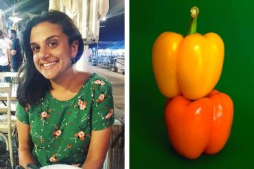 Ally in a restaurant and two stacked peppers