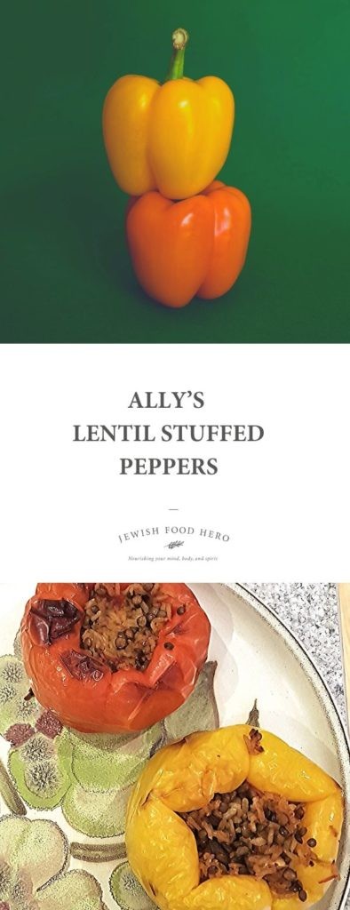 Ally's Lentil Stuffed Peppers on a floral plate and two raw stacked peppers