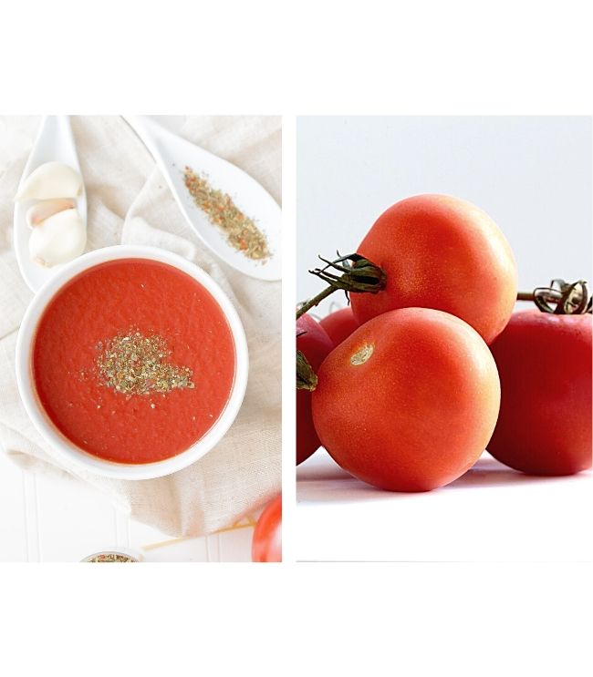 fresh tomatoes and a bowl of Creamy Plant-Based Tomato Soup