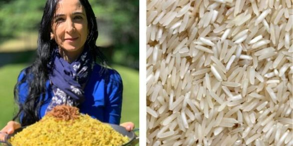 uncooked rice grains and Galit holding a large platter of Majaddara in a garden