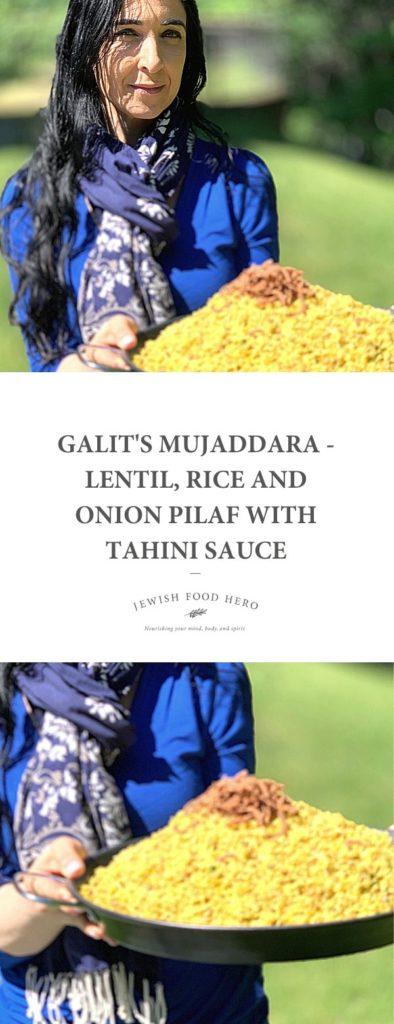 Galit holding a large platter of Majaddara in a garden