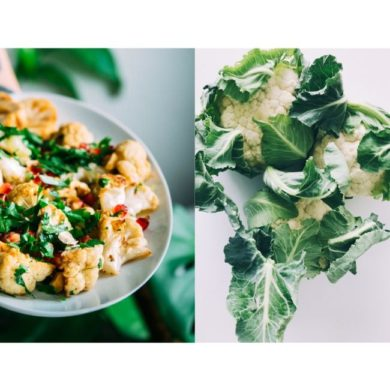 Roasted-Nut-Butter-and-Garlic-Cauliflower and raw cauliflower