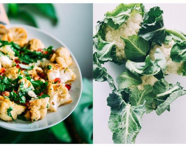 Roasted-Nut-Butter-and-Garlic-Cauliflower and raw cauliflower