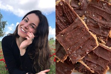 Shira and a close up of her no-bake cookie dough squares