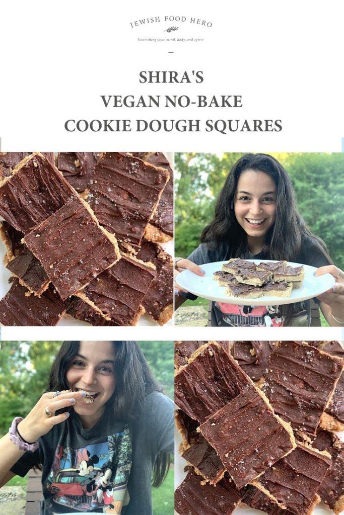 Shira and a close up of her no-bake cookie dough squares