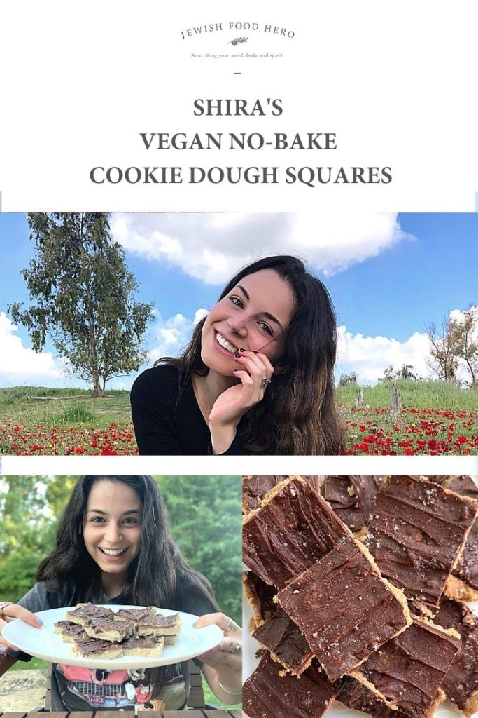 Shira in a flower meadow and with her frozen no-bake cookie dough squares