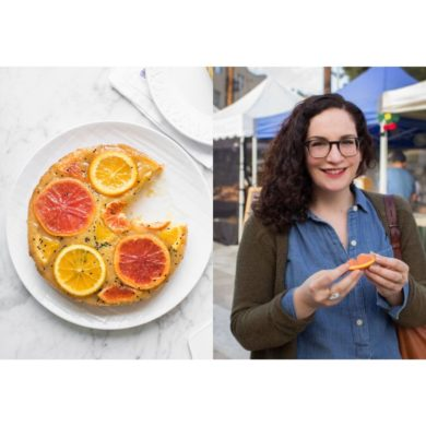A double image: a white porcelain plate with Sonya's Blood Orange and Black Sesame Polenta Cake and Sonya Sanford standing in the street holding an orange