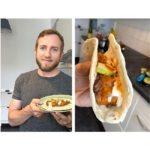 Joe Baur with his vegan cholent taco