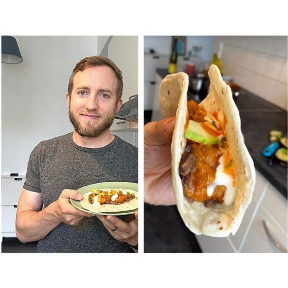 Joe Baur with his vegan cholent taco