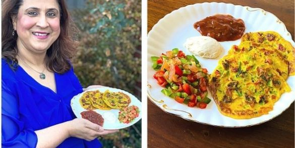 Esther's Vegan Chickpea Pancakes with chutney, coconut yoghurt and salad