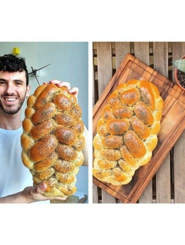 Idan with his Vegan Zaatar Challah